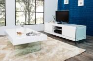 Lowboard FLOATING wit hoogglans glassamenstelling TV board
