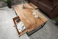 Massief mangohout salontafel met 2 Laden 100 cm