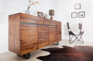 Massieve boomstam dressoir GENESIS 170 cm acacia hardhoutboom rand met lopers Industrial Finish