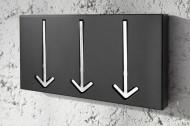 Moderne design wandkapstok ARROW 30 cm zwart met 3 haken