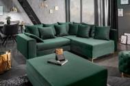 Moderne hoekbank LOFT 220cm smaragd groen fluweel incl Hocker en kussens. Lounge aan beide zijden op te bouwen