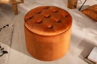 Poef met opbergruimte oranje-brons fluwelen 50 cm