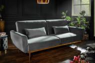 Retro slaapbank BELLEZZA 208 cm grijs fluweel 3-zits bank inclusief kussens