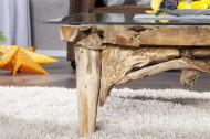 Salontafel Vierkant Drijfhout met glasplaat 100 cm