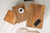 Solide set van 3 bijzettafels MAKASSAR 45 cm naturel mangohout