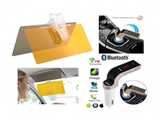 Parasolar auto Visor HD zi si noapte + Modulator FM auto MP3 Player Bluetooth