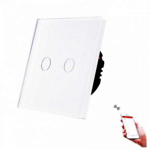 Intrerupator touch dublu, WI-FI, cu panou de sticla