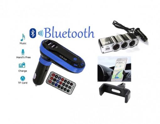 Pachet AUTO: Modulator FM mp3, 2 porturi USB + Priza bricheta tripla cu USB + Suport auto telefon