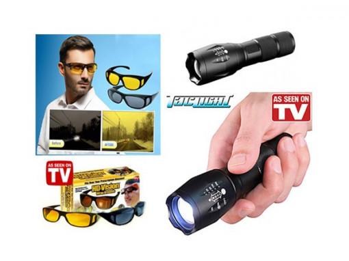 Set ochelari zi si noapte + Lanterna Tac Light
