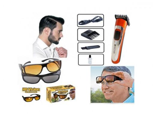 Set 2 perechi ochelari HD Vision + Aparat de tuns Nova