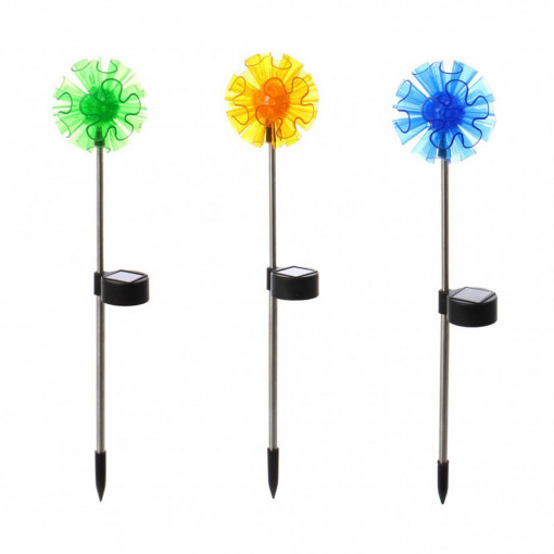 Set 3 lampi solare model floare, inaltime 41 cm