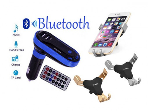 Suport universal telefon + Modulator auto bluetooth