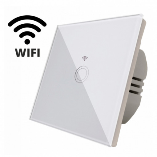 Intrerupator touch simplu WI-FI, cu panou de sticla