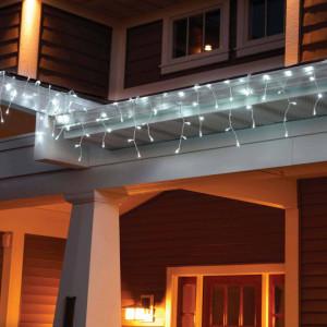 Instalatie de Craciun tip franjuri cu Flash 4 metri, 100 LED Alb Rece