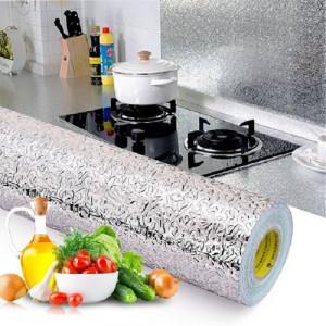 Folie de aluminiu autoadeziva bucatarie, dimensiune 300 cm x 60 cm