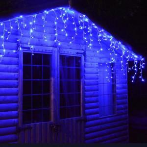 Instalatie de Craciun tip franjuri cu Flash 8 metri, 200 LED Albastru