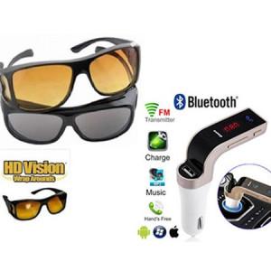 Set 2 ochelari de condus zi si noapte + Modulator FM auto MP3 Bluetooth