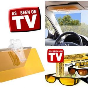 Set parasolar HD Visor + 2 perechi de ochelari de zi si noapte HD Vision