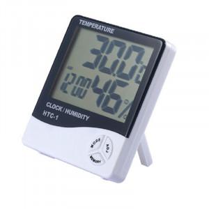 Termohigrometru digital 3 in 1 cu ceas, alarma, calendar