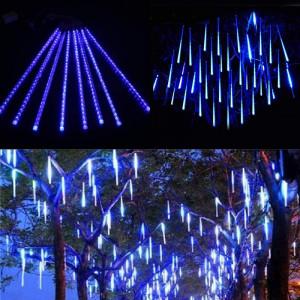 Instalatie 8 turturi luminosi, efect de ninsoare, LED ALBASTRU