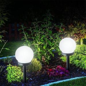 Set 4 x Lampa solara tip glob, cu LED ALB integrat