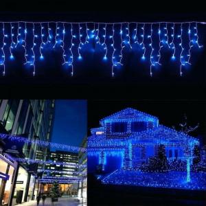 Instalatie de Craciun tip franjuri 12 metri, 300 LED Albastru