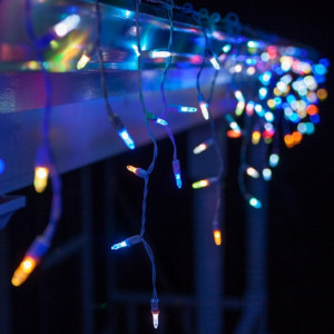 Instalatie de Craciun tip franjuri cu Flash 8 metri, 200 LED Multicolor