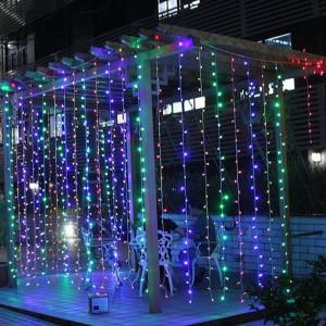Instalatie de Craciun Tip Perdea 9 m x 1 m, 384 LED MULTICOLOR
