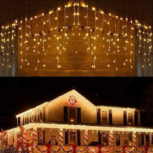 Instalatie de Craciun tip franjuri cu Flash 12 metri, 300 LED Alb Cald
