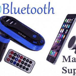 Modulator auto bluetooth cu telecomanda + suport magnetic telefon cu fixare rapida