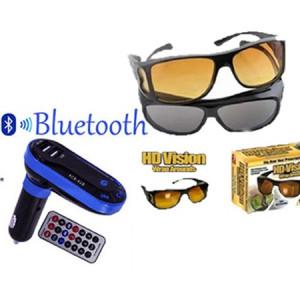 Modulator FM Bluetooth + Set 2 perechi ochelari de condus