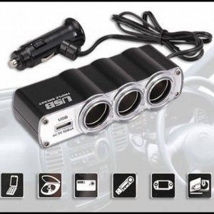 Priza tripla auto cu port USB