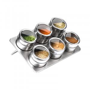 Set 6 recipiente magnetice cu suport pentru condimente