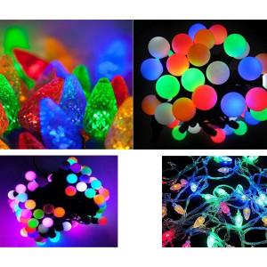 Set 2 instalatii multicolore: globulete + conuri