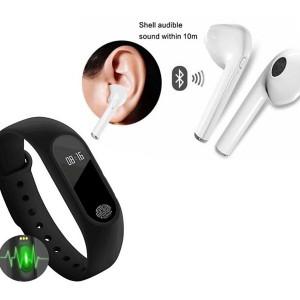 Casti Wireless + Bratara fitness