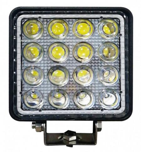 Proiector LED Auto Offroad 4D cu Angel Eyes 48W/12V-24V, 3520 Lumeni, Patrat, Spot Beam 30 Grade