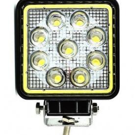 Proiector LED Auto Offroad Cu Angel Eyes 27W/12V-24V, 1980 Lumeni, Patrat, Flood Beam 60 Grade