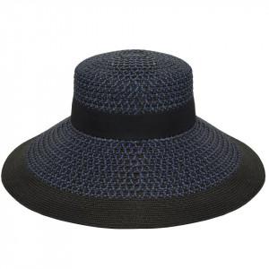 Betmar, Palarie dama audrey braided wide brim bleumarin