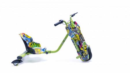 Produs resigilat - Tricicleta Electrica Freewheel Drift Trike Super Power - Autonomie 12-15 Km 15 Km/h Motor 250W Graffiti Galben