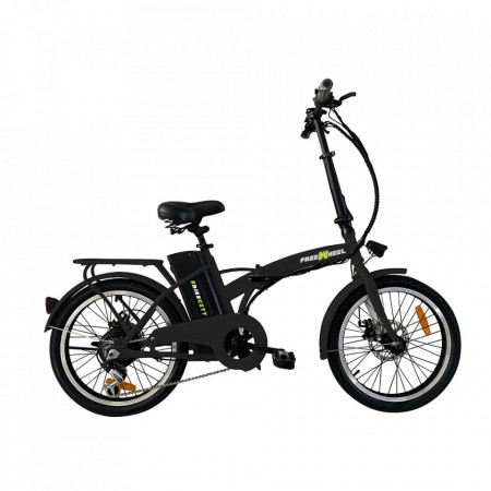 "E-Bike City - Bicicleta electrica FreeWheel, Pliabila, Roti 20"", Frana disc fata/spate, Motor 250W, Autonomie pana la 35Km, Viteza maxima 25Km/h, Negru"