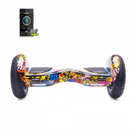 Scooter Electric (Hoverboard) Freewheel Monster S2 SMART - Graffiti Galben, Boxa bluetooth, Autonomie 18 km, Viteza 18 km/h, Motor 2 x 350W Brushless