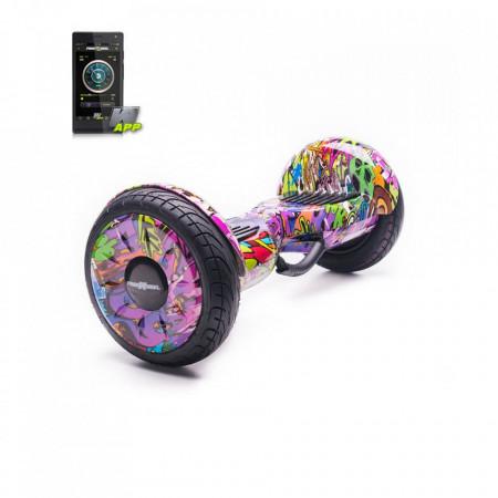 Scooter electric (Hoverboard) FREEWHEEL Monster S2 SMART - Graffiti Mov, Boxa bluetooth, Autonomie 18 km, Viteza 18 km/h, Motor 2 x 350W Brushless