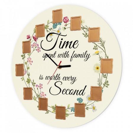 Ceas de perete Timpul petrecut cu familia, 40 cm, Flori