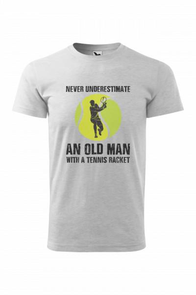 "Tricou barbati ""Old man with a tennis racket"""