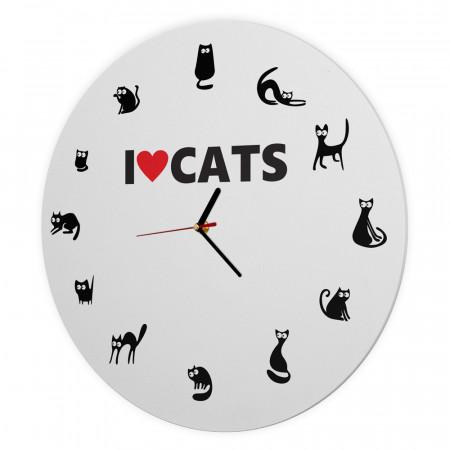 Ceas Pisici I love cats, 40 cm