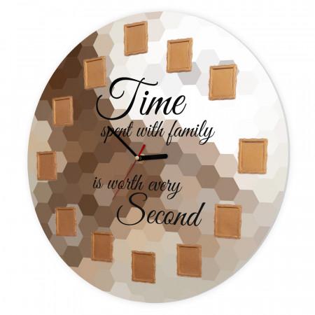 Ceas de perete Timpul petrecut cu familia, 40 cm, Fagure