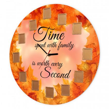 Ceas de perete Timpul petrecut cu familia, 40 cm, Toamna