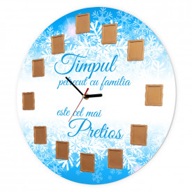 Ceas de perete Timpul petrecut cu familia, 40 cm, Iarna