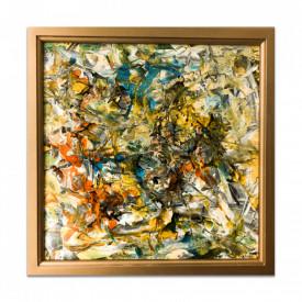 Pictura abstracta, realizata pe carton cu tehnica mixta