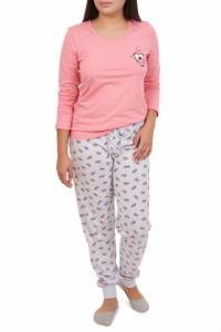 Pijamale dama din bumbac, Smile, roz piersic